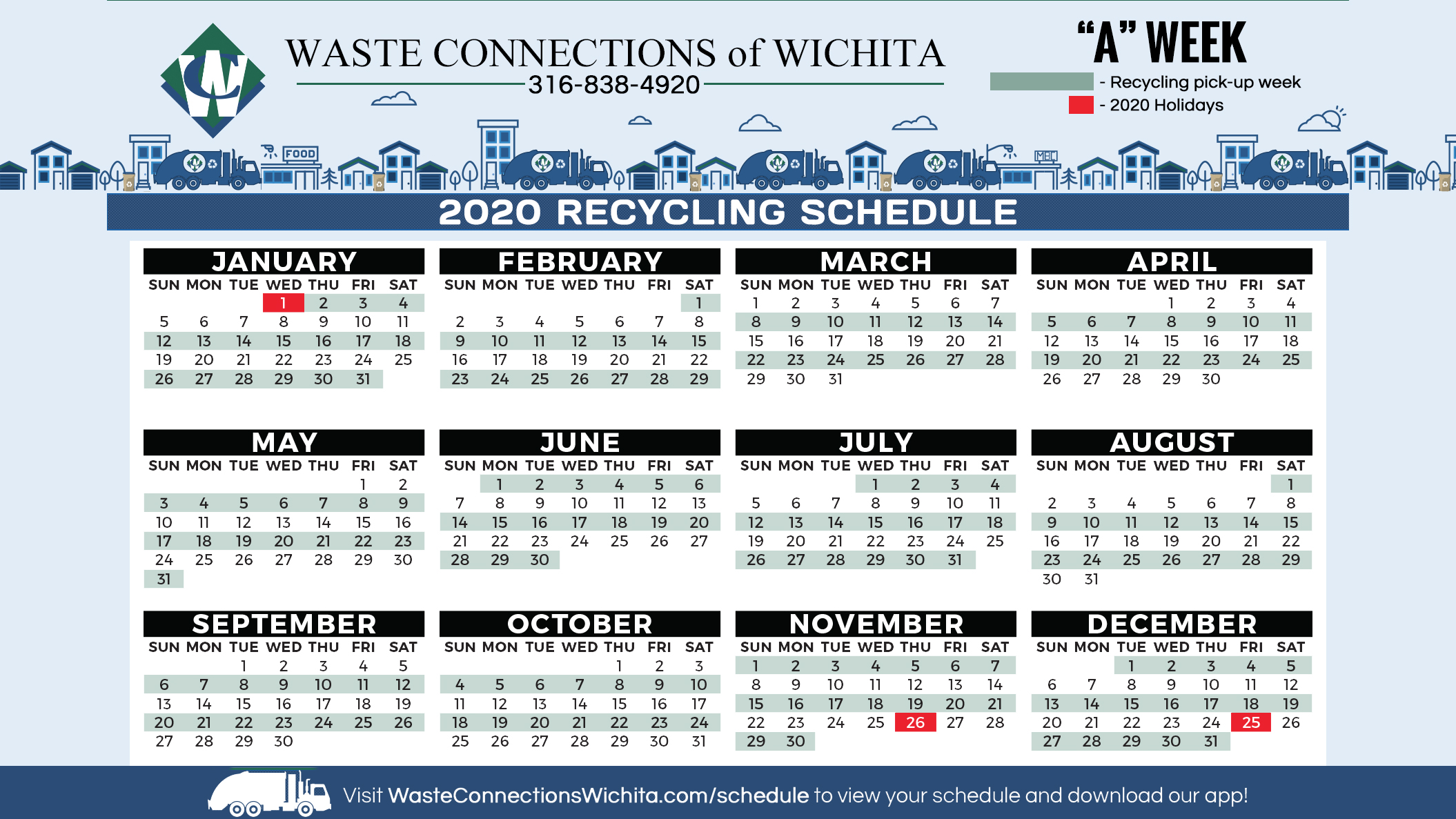 2020 Recycling Calendar for Park City by Waste Connections